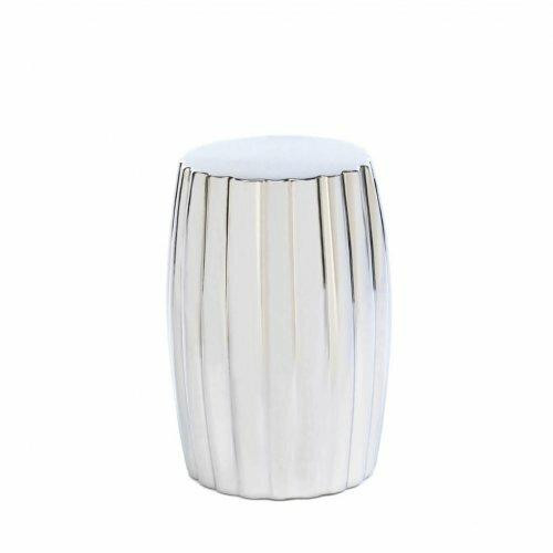 Accent Plus Ceramic Silver Decorative Stool