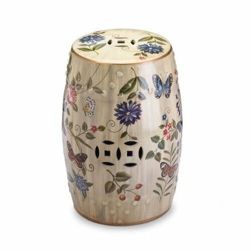 Accent Plus Butterfly Garden Ceramic Stool