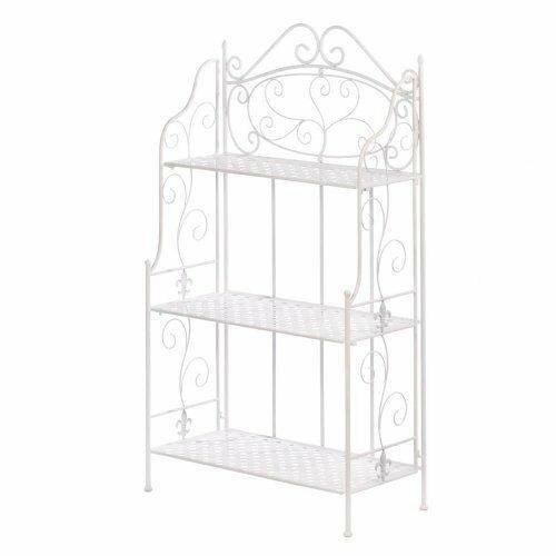 Accent Plus White Basket Weave Bakers Rack