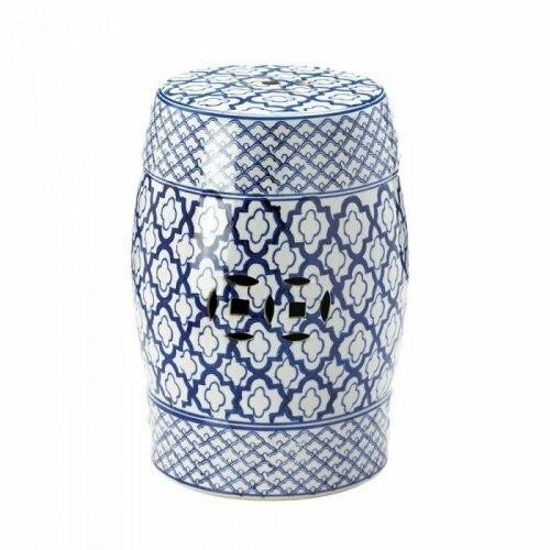 Accent Plus Blue And White Ceramic Decorative Stool