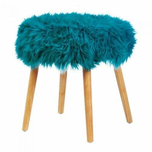 Accent Plus Turquoise Faux Fur Stool