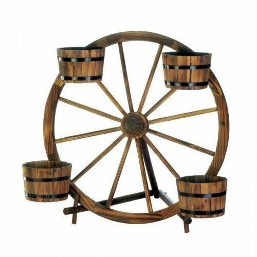 Summerfield Terrace Wagon Wheel Barrel Planter Display