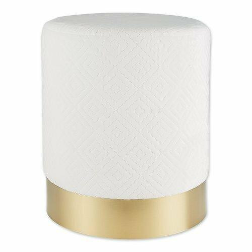 Accent Plus White Velvet Stool