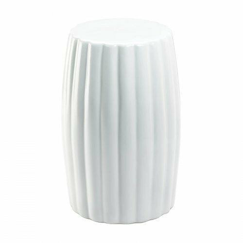 Accent Plus Glossy White Ceramic Stool