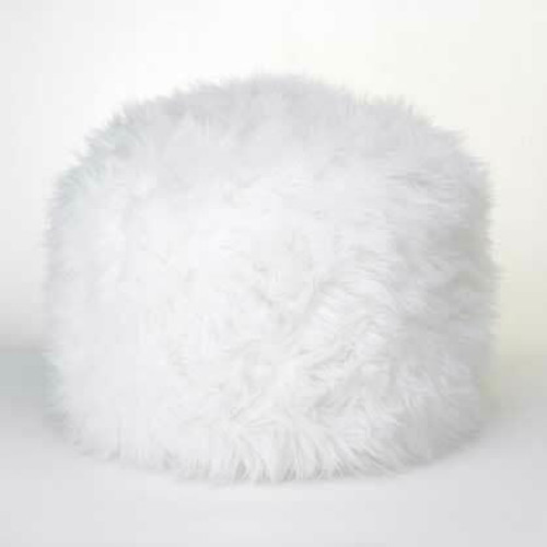 Accent Plus Fuzzy White Ottoman Footstool