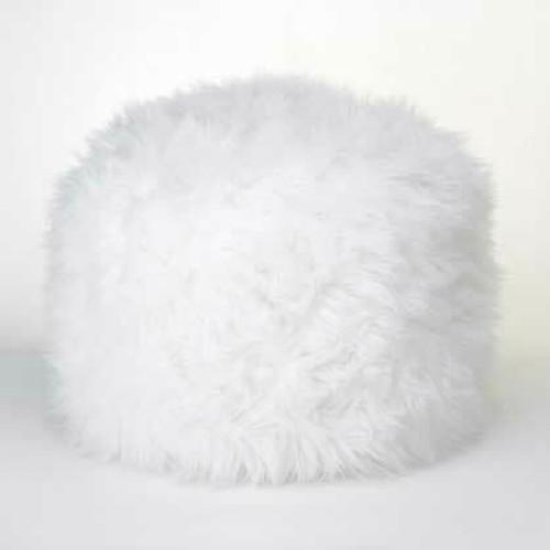 Accent Plus Fuzzy White Ottoman Footstool