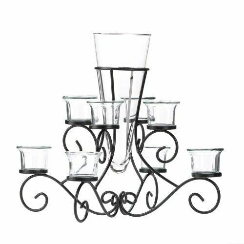 Accent Plus Stunning Scrollwork Candle Centerpiece With Vase
