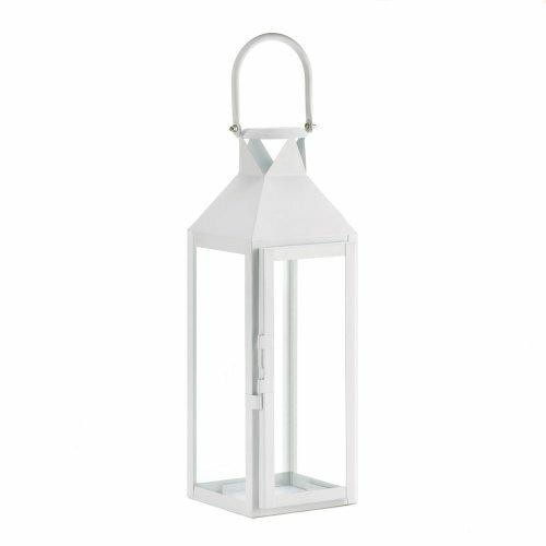 Accent Plus White Manhatten Candle Lantern