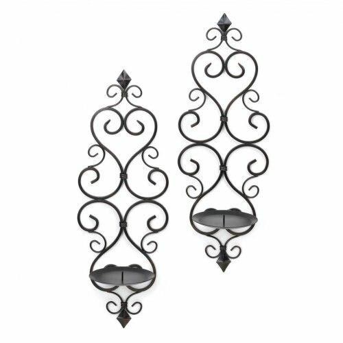 Accent Plus Fleur De Lis Candle Wall Sconces