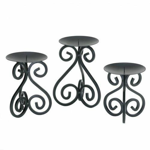 Accent Plus Black Iron Candleholders Set