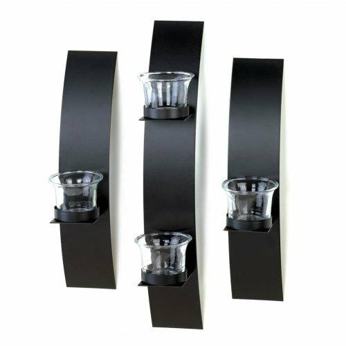 Accent Plus Black Wall Candleholder Set