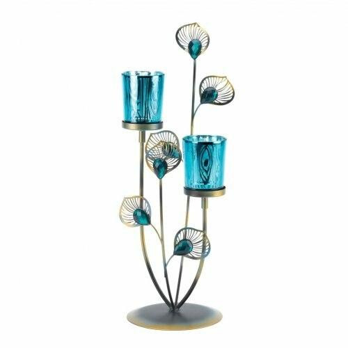 Accent Plus Peacock Plume Candleholder