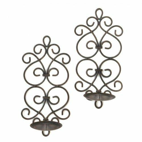 Accent Plus Black Iron Scrollwork Candle Wall Sconces