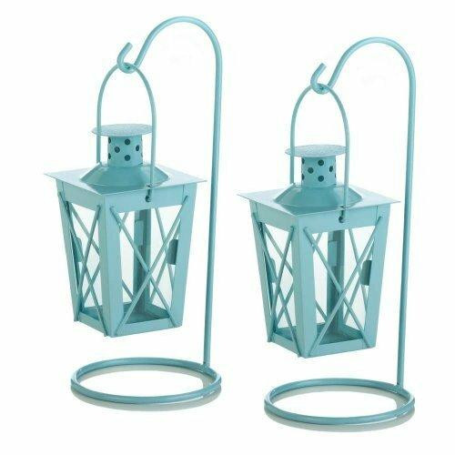 Accent Plus Baby Blue Hanging Railroad Lantern Pair