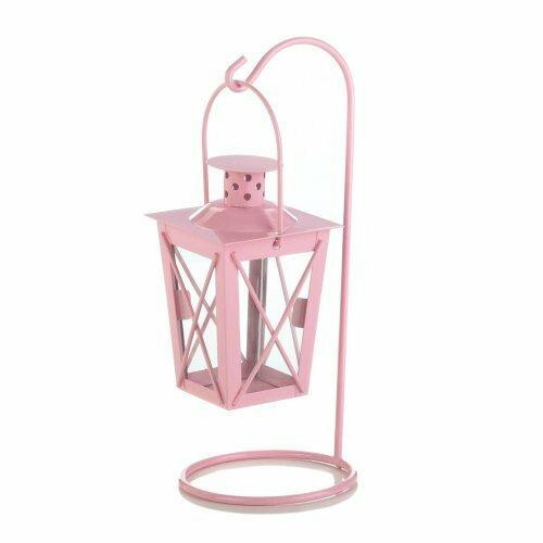 Accent Plus Pink Iron Railroad Hanging Lantern Pair