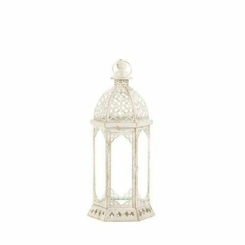 Accent Plus Graceful Distressed Small White Lantern