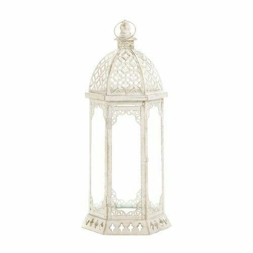 Accent Plus Graceful Distressed White Large Lantern