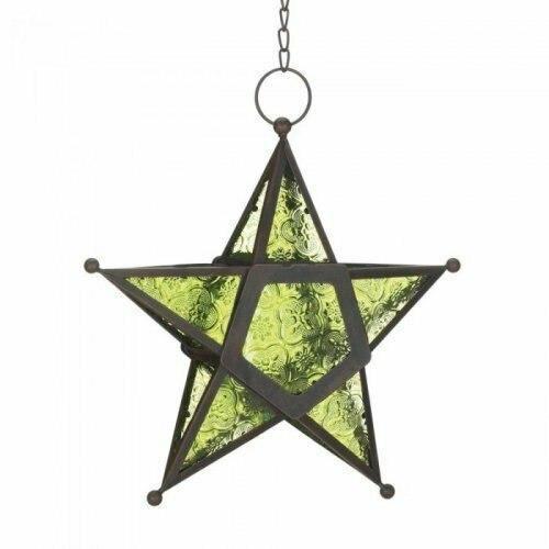 Accent Plus Green Glass Star Lantern
