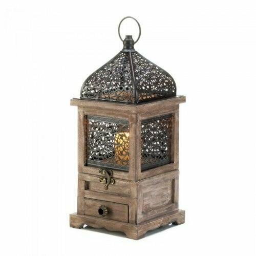Accent Plus Large Flip-top Moroccan Wooden Lantern