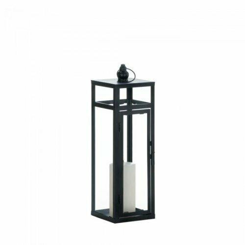 Accent Plus Black Dramatic Geometry Lantern