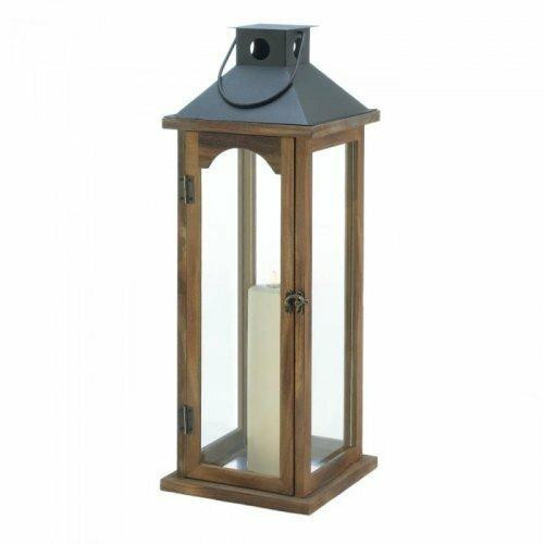 Accent Plus Large Simple Metal Top Wooden Lantern