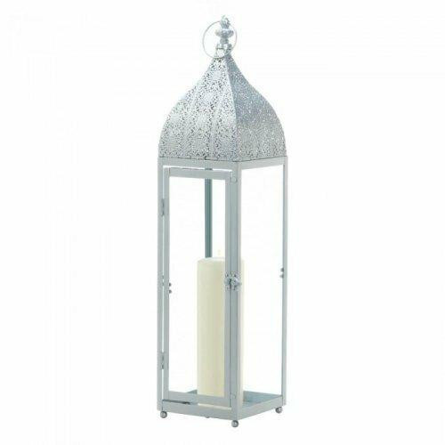 Accent Plus Large Silver Moroccan Style Lantern