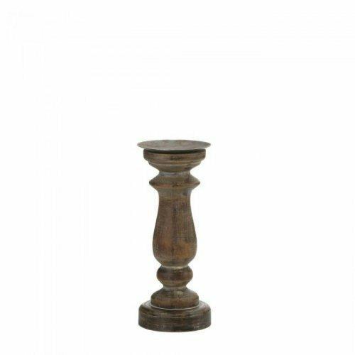 Accent Plus Short Antique-style Wooden Candleholder