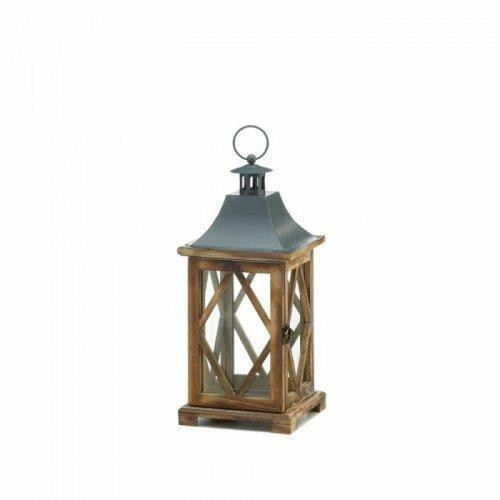 Accent Plus Wooden Diamond Lattice Lantern