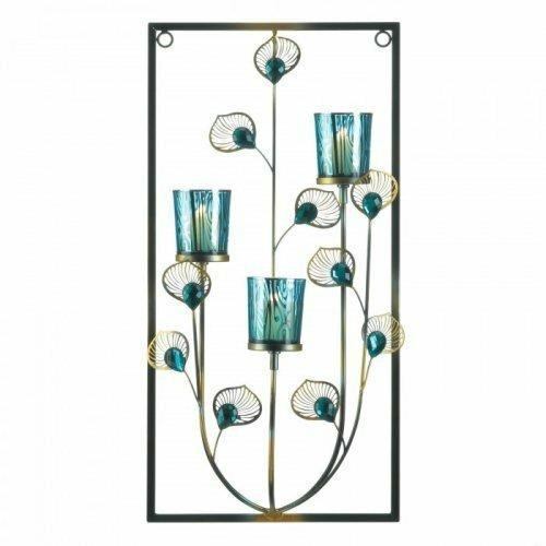 Accent Plus Peacock Three Candle Wall Sconce