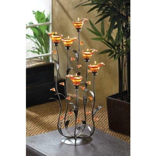 Accent Plus Amber Calla Lilly Candleholder