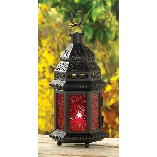 Accent Plus Red Glass Moroccan Lantern