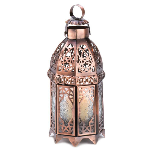 Accent Plus Copper Moroccan Candle Lamp