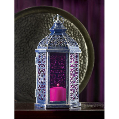 Accent Plus Enchanted Fuschia Candle Lantern