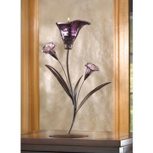 Accent Plus Glass Lily Tealight Candleholder