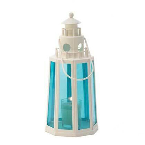 Accent Plus Blue And White Lighthouse Candle Lantern