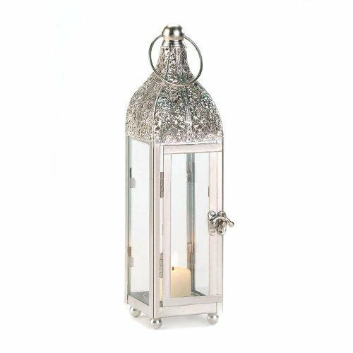 Accent Plus Polished Metal Candle Lantern