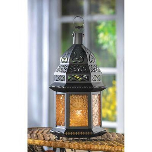 Accent Plus Yellow Glass Moroccan Lantern