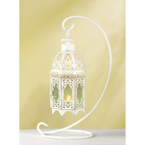 Accent Plus White Fancy Lantern W/stand