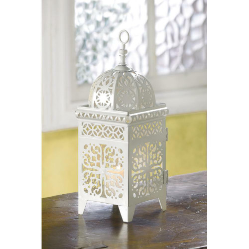 Accent Plus White Scrollwork Candle Lantern
