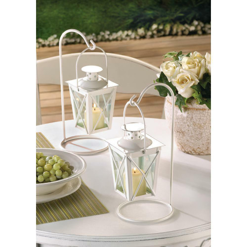 Accent Plus White Railroad Candle Lanterns