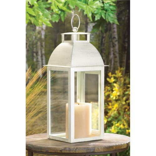 Accent Plus Distressed Ivory Candle Lantern