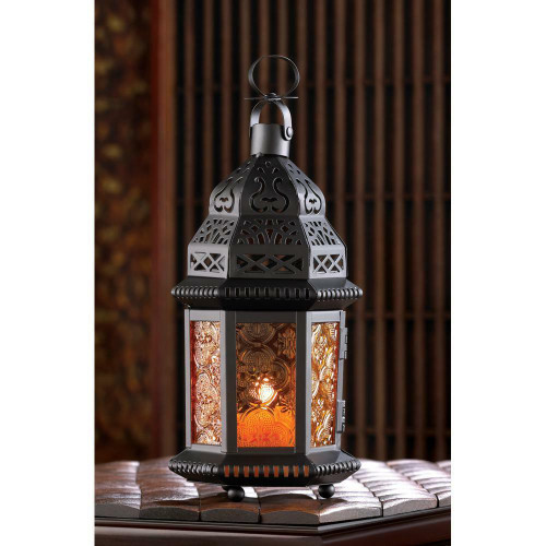 Accent Plus Amber Moroccan Candle Lantern
