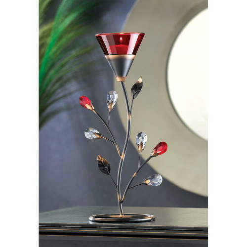 Accent Plus Ruby Blossom Tealight Holder