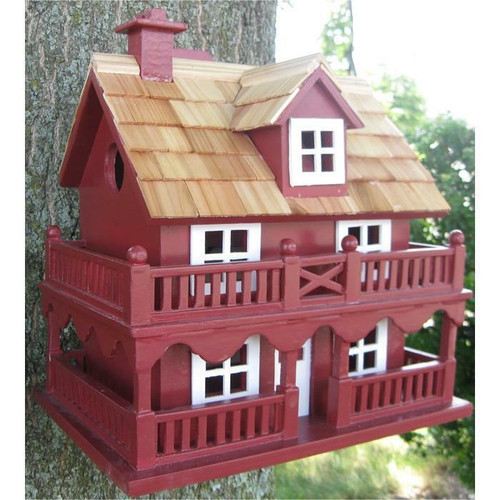 FastFurnishings Red Wood Birdhouse - Made of Kiln Dried Hardwood