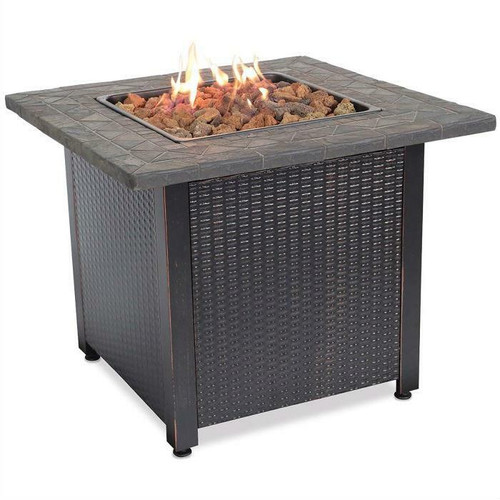 FastFurnishings Outdoor Patio Propane Fire Pit with Hidden Fuel Tank Storage Cabinet