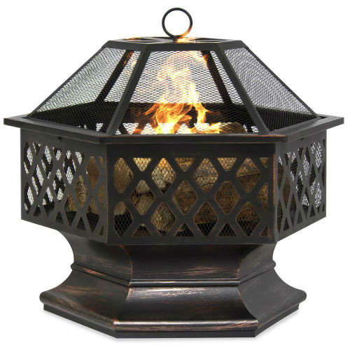 FastFurnishings 24 Inch Steel Distressed Bronze Lattice Design Fire Pit With Cover