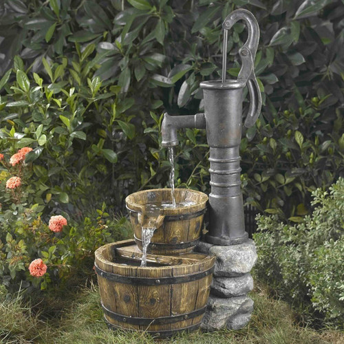 FastFurnishings Outdoor Water Pump Half Whiskey Barrel Style Water Fountain