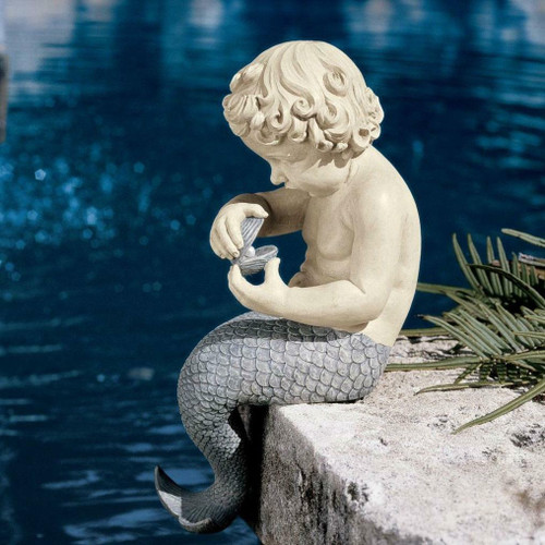 FastFurnishings Young Little Sitting Mermaid Garden Statue with Oyster and Pearl