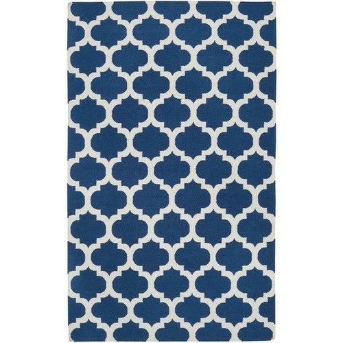 FastFurnishings 5 x 8 Flat Woven Wool Area Rug Handmade Blue White Trellis Pattern