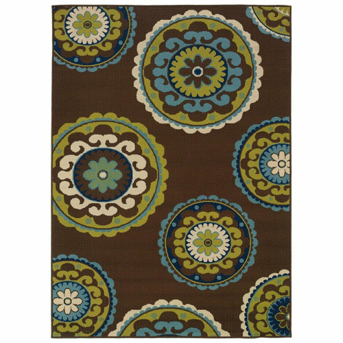 FastFurnishings 710 x 1010 Outdoor/Indoor Area Rug in Brown Teal, Green Yellow Circles